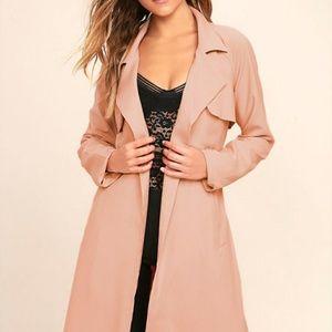 Lulu's Pink Blush NWT Trench Coat Size Large